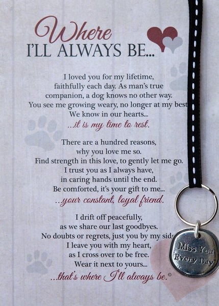 Where I'll Always Be Memorial Keychain - Dog