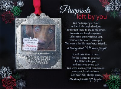 Pawprints Pewter Picture Ornament
