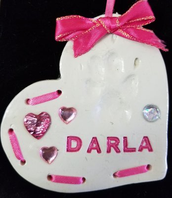 Handmade Paw Print Ornament - Stitched Heart