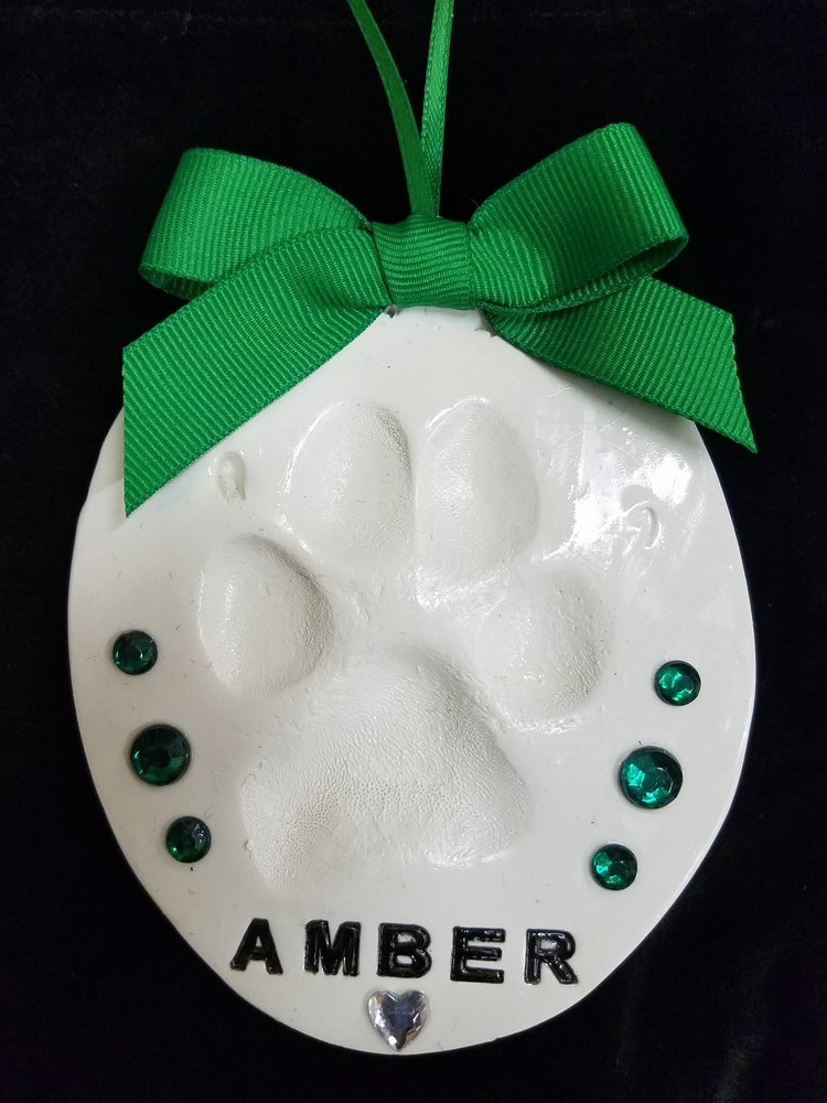 Handmade Paw Print Ornament - Green
