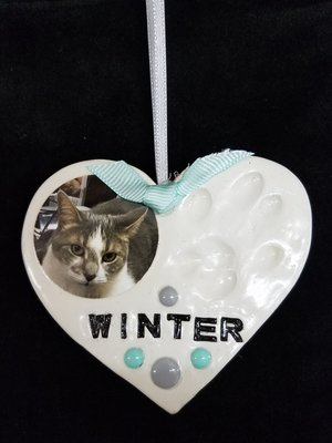 Handmade Paw Print Ornament - Heart with Picture