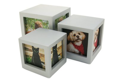 Photo Cube Urn Silver - Small