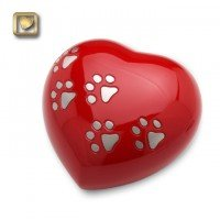 LovePaws Heart Urn Love Red - Medium